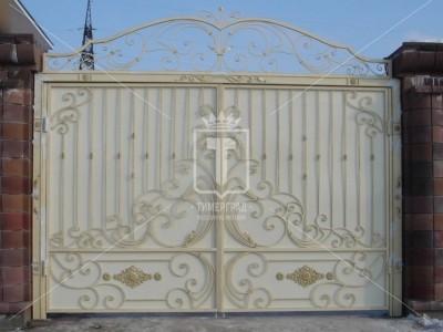 Металлические белые ворота с позолотой (Арт. 039)