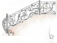 Перила с утолщенными коваными элементами (Арт. 047)