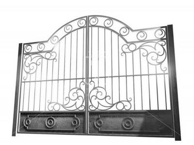 Железные ворота с оригинальными кольцами (Арт. 048)