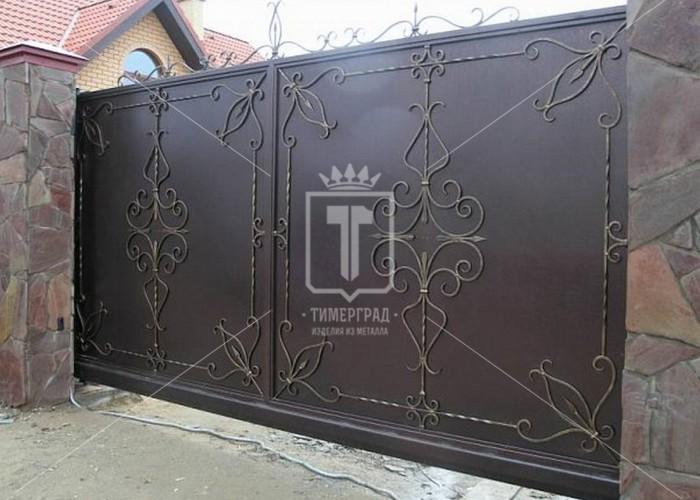 Массивные откатные кованые ворота (Арт. 100)