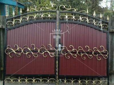 Красивые распашные ворота с профлистом (Арт. 045)