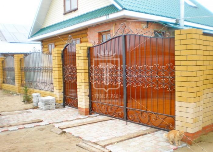 Распашные ворота и калитка с большим количеством «барашков» (Арт. 022)