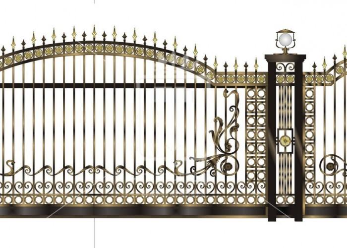 Откатные кованые ворота с коваными элементами и фонарями (Арт. 095)